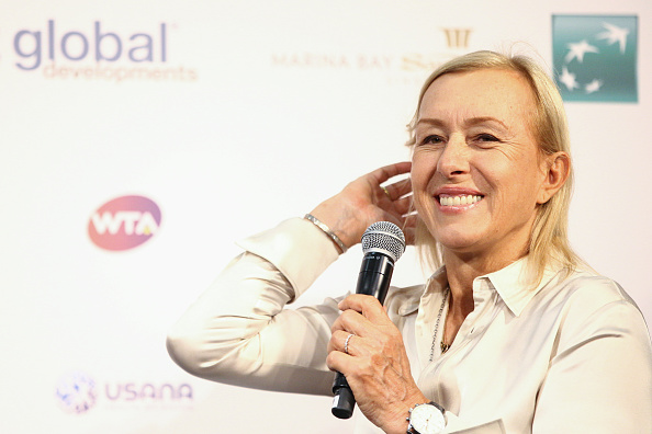 WTA Finals Ambassador Martina Navratilova speaks to media during the WTA Finals ticket launch at the Singapore Sports Hub on April 28, 2016 in Singapore.
