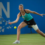 NOTTINGHAM, ENGLAND - JUNE 11: Karolina Pliskova of Czech Republic in action during her match against Monica Puig of Peru on day six of the WTA Aegon Open on June 11, 2016 in Nottingham, England. (Photo by Jon Buckle/Getty Images for LTA)