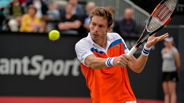Nicolas Mahut (FRA) returns to Sam Querrey (USA) during the semifinal match on Saturday 11th of June 2016 at the Ricoh Open Grass Court Championships at the Autotron in Rosmalen in the Netherlands. (Photo by Andy Astfalck/NurPhoto via Getty Images)