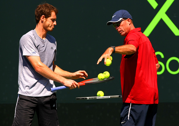 Andy Murray of Great Britain in action during a practice session with coach Ivan Lendl at the Sony Open, Miami, 2013 (Photo by AMA/Corbis via Getty Images)