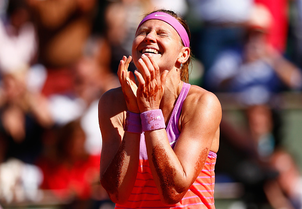 PARIS, FRANCE - JUNE 04:  Lucie Safarova of Czech Repbulic celebrates winning in her Women's Semi final match against Ana Ivanovic of Serbia on day twelve of the 2015 French Open at Roland Garros on June 4, 2015 in Paris, France.  (Photo by Julian Finney/Getty Images)