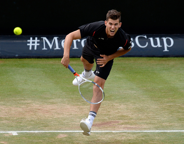 STUTTGART, GERMANY - JUNE 12: Dominic Thiem of Austria serves against Philipp Kohlschreiber of Germany during the final on day 9 of Mercedes Cup 2016 on June 12, 2016 in Stuttgart, Germany. (Photo by Daniel Kopatsch/Bongarts/Getty Images)