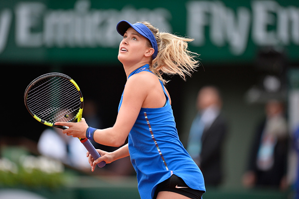 PARIS, FRANCE - MAY 26:  Eugenie Bouchard of Canada in action during her women's single second round match against Timea Bacsinszky of Switzerland on day five of the 2016 French Open at Roland Garros on May 26, 2016 in Paris, France.  (Photo by Aurelien Meunier/Getty Images)