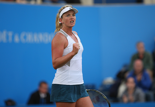 BIRMINGHAM, ENGLAND - JUNE 15: CoCo Vandeweghe of United States celebrates her victory during her women's singles first round match against Agnieszka Radwanska of Polandon day three of the WTA Aegon Classic at Edgbaston Priory Club on June 15, 2016 in Birmingham, England. (Photo by Steve Bardens/Getty Images for LTA)