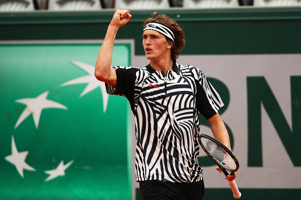 PARIS, FRANCE - MAY 28:  Alexander Zverev of Germany reacts during the Men's Singles third round match against Dominic Thiem of Austria on day seven of the 2016 French Open at Roland Garros on May 28, 2016 in Paris, France.  (Photo by Clive Brunskill/Getty Images)