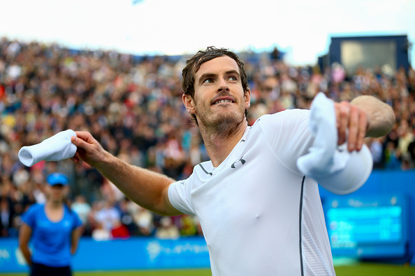 LONDON, ENGLAND - JUNE 14:  Andy Murray of Great Britain celebrates after victory in his first round match against Nicolas Mahut of France during day two of the Aegon Championships at the Queens Club on June 14, 2016 in London, England.  (Photo by Jordan Mansfield/Getty Images )
