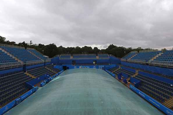 BIRMINGHAM, ENGLAND - JUNE 13: Covers on Centre Court during a rain delay on day one of the WTA Aegon Classic at Edgbaston Priory Club on June 13, 2016 in Birmingham, England.  (Photo by Steve Bardens/Getty Images for LTA)