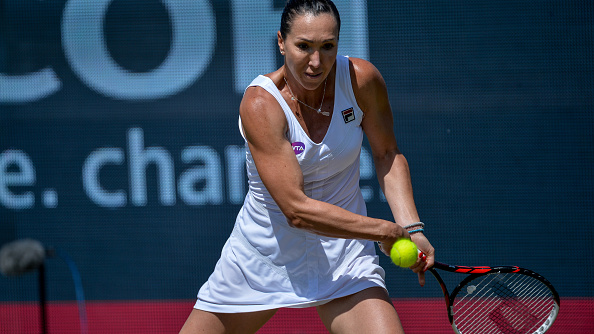 Jelena Jankovic (SBR) hits a backhand return to Evgeniya Rodina (RUS) on Thursday 9th of June 2016 at the Ricoh Open Grass Court Championships at the Autotron in Rosmalen in the Netherlands.   (Photo by Andy Astfalck/NurPhoto via Getty Images)