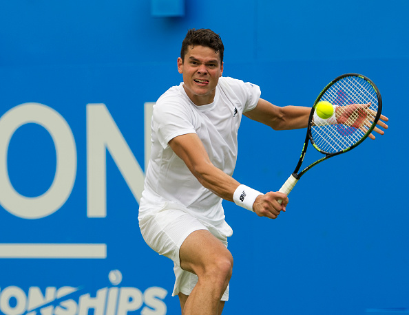 LONDON, ENGLAND - JUNE 16:  Milos Raonic of Canada in action during his victory over Jiri Vesely of the Czech Republic in their Mens Singles Second Round match on day four of the Aegon Championships at The Queens Club on June 16, 2016 in London, England.  (Photo by Ashley Western/CameraSport via Getty Images)