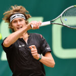 HALLE, GERMANY - JUNE 18:  Alexander Zverev of Germany plays a forehand in his half final match against Roger Federer of Switzerland during day six of the Gerry Weber Open at Gerry Weber Stadium on June 18, 2016 in Halle, Germany.  (Photo by Thomas Starke/Bongarts/Getty Images)