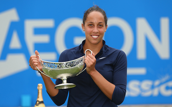 BIRMINGHAM, ENGLAND - JUNE 19: Madison Keys of United States celebrates with the Maud Watson trophy after her victory in the Women's Singles Final against Barbara Strycova of Czech Republic on day seven of the WTA Aegon Classic at Edgbaston Priory Club on June 19, 2016 in Birmingham, England.  (Photo by Steve Bardens/Getty Images for LTA)