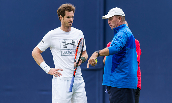LONDON, ENGLAND - JUNE 16:  Ivan Lendl with Andy Murray of Great Britain and Jamie Delgado (right) on the practice courts on day four of the Aegon Championships at The Queens Club on June 16, 2016 in London, England.  (Photo by Ashley Western/CameraSport via Getty Images)