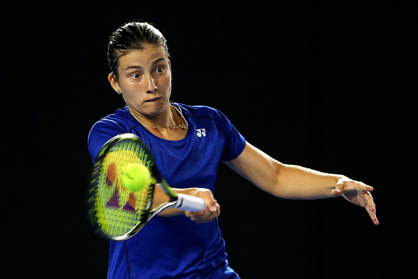 MELBOURNE, AUSTRALIA - JANUARY 21:  Anastasija Sevastova of Latvia plays a forehand in her second round match against Ana Ivanovic of Serbia during day four of the 2016 Australian Open at Melbourne Park on January 21, 2016 in Melbourne, Australia.  (Photo by Quinn Rooney/Getty Images)