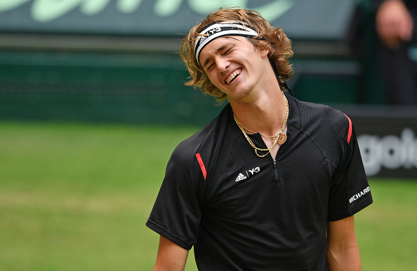 HALLE, GERMANY - JUNE 18:  Alexander Zverev of Germany celebrates after winning his half final match against Roger Federer of Switzerland during day six of the Gerry Weber Open at Gerry Weber Stadium on June 18, 2016 in Halle, Germany.  (Photo by Thomas Starke/Bongarts/Getty Images)