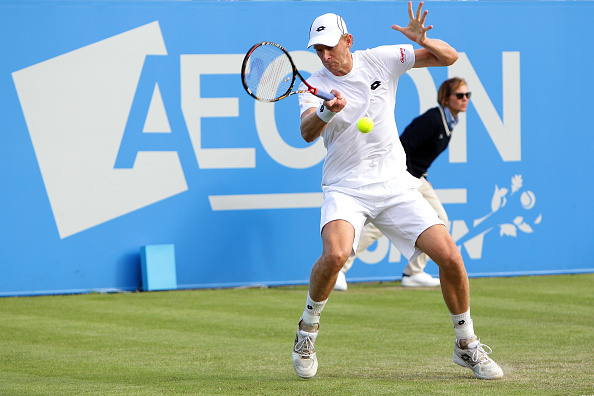 NOTTINGHAM, ENGLAND - JUNE 21:  Kevin Anderson of South Africe plays a forehand during his men's singles match against Ivan Dodig of Croatia during day two of the ATP Aegon Open Nottingham at Nottingham Tennis Centre on June 21, 2016 in Nottingham, England.  (Photo by Daniel Smith/Getty Images)