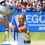 EASTBOURNE, ENGLAND - JUNE 25:  Dominika Cibulkova of Slovakia poses with the trophy after winning the final match against Karolina Pliskova of Czech Republic on day seven of the WTA Aegon International at Devonshire Park on June 25, 2016 in Eastbourne, England. (Photo by Tom Dulat/Getty Images).  (Photo by Tom Dulat/Getty Images)