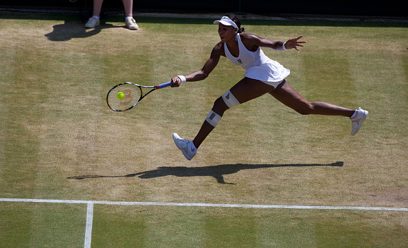"""Venus Williams, USA, in action during her Quarter Final Victory over Agnieszka Radwanska, Poland, on Show Court 1 at the All England Lawn Tennis Championships at Wimbledon, London, England on Tuesday, June 30, 2009. (Photo by Tim Clayton/Corbis via Getty Images)"