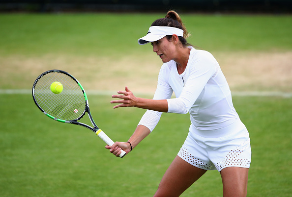 LONDON, ENGLAND - JUNE 26:  Garbine Muguruza of Spain in action during a practice session prior to the Wimbledon Lawn Tennis Championships at the All England Lawn Tennis and Croquet Club on June 26, 2016 in London, England.  (Photo by Clive Brunskill/Getty Images)