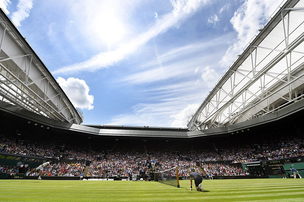 LONDON, ENGLAND - JUNE 27:  A general view of Centre court as Novak Djokovic of Serbia is in action against James Ward of Great Britain on day one of the Wimbledon Lawn Tennis Championships at the All England Lawn Tennis and Croquet Club on June 27th, 2016 in London, England.  (Photo by Shaun Botterill/Getty Images)