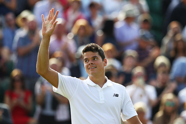 LONDON, ENGLAND - JUNE 27:  Milos Raonic of Canada celebrates victory during the Men's Singles first round match against  Pablo Carreno Busta of Spain on day one of the Wimbledon Lawn Tennis Championships at the All England Lawn Tennis and Croquet Club on June 27th, 2016 in London, England.  (Photo by Julian Finney/Getty Images)