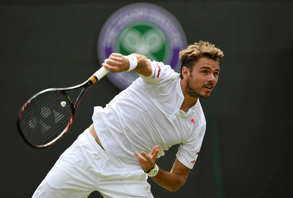 **** during the **** against **** on day two of the Wimbledon Lawn Tennis Championships at the All England Lawn Tennis and Croquet Club on June 28, 2016 in London, England.