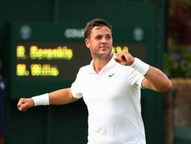 LONDON, ENGLAND - JUNE 27:  Marcus Willis of Great Britain celebrates victory during the Men's Singles first round match against Ricardas Berankis of Lithuania on day one of the Wimbledon Lawn Tennis Championships at the All England Lawn Tennis and Croquet Club on June 27th, 2016 in London, England.  (Photo by Clive Brunskill/Getty Images)