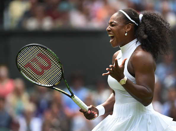LONDON, ENGLAND - JUNE 28: Serena Williams of USA shouts out with anxiety during her first round match against Amra Sadikovic of Switzerland at Wimbledon on June 28, 2016 in London, England. (Photo by Visionhaus/Corbis via Getty Images) *** Local Caption *** Serena Williams