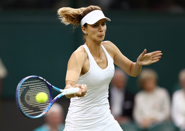 LONDON, ENGLAND - JUNE 29:  Tsvetana Pironkova of Bulgaria plays a forehand during the Ladies Singles second round match against Belinda Bencic of Switzerland on day three of the Wimbledon Lawn Tennis Championships at the All England Lawn Tennis and Croquet Club on June 29, 2016 in London, England.  (Photo by Julian Finney/Getty Images)