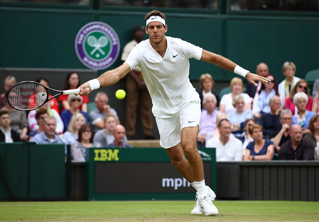 LONDON, ENGLAND - JULY 01:  Juan Martin Del Potro of Argentina plays a forehand during the Men's Singles second round match against Stan Wawrinka of Switzerland on day five of the Wimbledon Lawn Tennis Championships at the All England Lawn Tennis and Croquet Club on July 1, 2016 in London, England.  (Photo by Clive Brunskill/Getty Images)