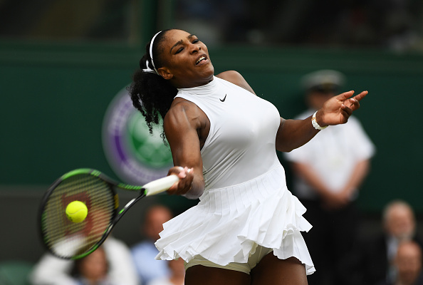 LONDON, ENGLAND - JULY 04:  Serena Williams of The United States plays a forehand during the Ladies Singles fourth round match against Svetlana Kuznetsova of Russia on day seven of the Wimbledon Lawn Tennis Championships at the All England Lawn Tennis and Croquet Club on July 4, 2016 in London, England.  (Photo by Shaun Botterill/Getty Images)