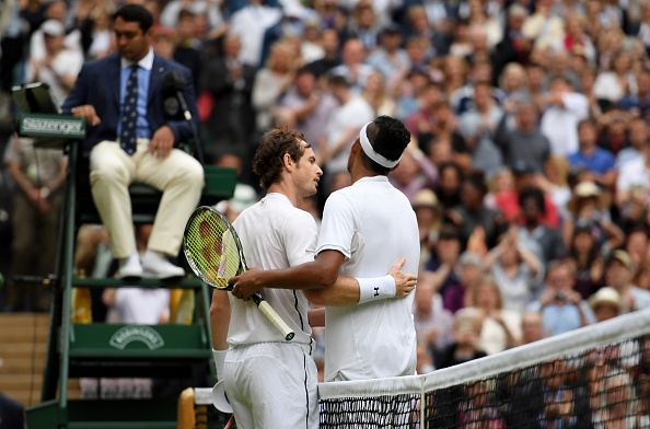 **** during the **** against **** on day seven of the Wimbledon Lawn Tennis Championships at the All England Lawn Tennis and Croquet Club on July 4, 2016 in London, England.