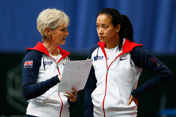 BUDAPEST, HUNGARY - FEBRUARY 05:  Captain Judy Murray talks with Anne Keothavong during day two of the Fed Cup/Africa Group One tennis at Syma Event and Congress Centre on February 5, 2015 in Budapest, Hungary.  (Photo by Julian Finney/Getty Images for LTA)