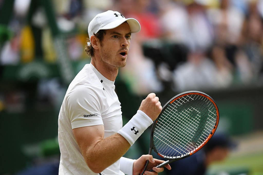 LONDON, ENGLAND - JULY 06:  Andy Murray of Great Britain reacts during the Men's Singles Quarter Finals match against Jo-Wilfried Tsonga of France on day nine of the Wimbledon Lawn Tennis Championships at the All England Lawn Tennis and Croquet Club on July 6, 2016 in London, England.  (Photo by Shaun Botterill/Getty Images)