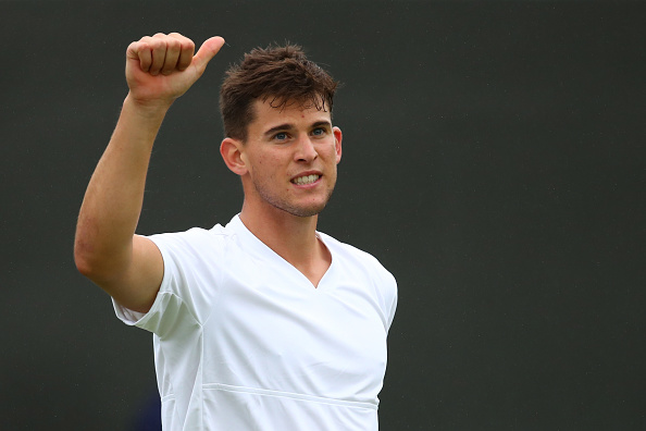 LONDON, ENGLAND - JUNE 29:  Dominic Thiem of Austria celebrates victory during the Men's Singles first round match against Florian Mayer of Germany on day three of the Wimbledon Lawn Tennis Championships at the All England Lawn Tennis and Croquet Club on June 29, 2016 in London, England.  (Photo by Clive Brunskill/Getty Images)