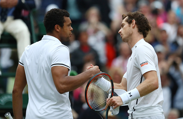 LONDON, ENGLAND - JULY 06:  Andy Murray of Great Britain shakes hands with Jo-Wilfried Tsonga of France following victory in the Men's Singles Quarter Finals match on day nine of the Wimbledon Lawn Tennis Championships at the All England Lawn Tennis and Croquet Club on July 6, 2016 in London, England.  (Photo by Julian Finney/Getty Images)