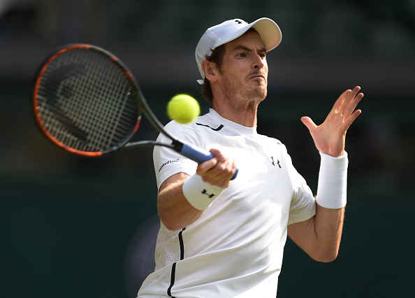 LONDON, ENGLAND - JULY 06: Andy Murray of Great Britain in action during his quarter final match against Jo-Wilfred Tsonga of France at Wimbledon on July 6, 2016 in London, England. (Photo by Visionhaus/Corbis via Getty Images)** Local Caption *** Andy Murray