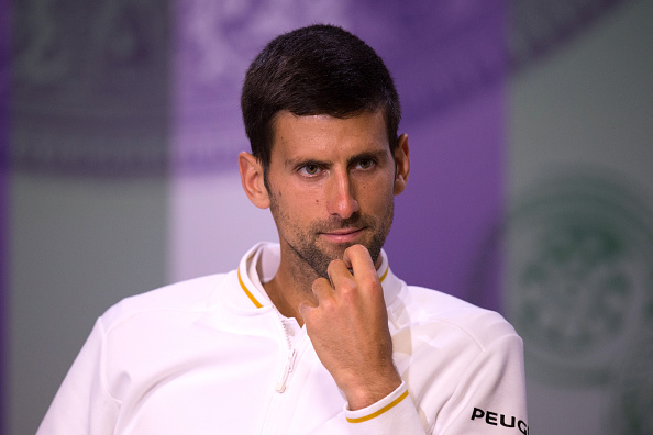 LONDON, ENGLAND - JULY 02:  Novak Djokovic of Serbia speaks to the media following his defeat against Sam Querrey of the United States on day six of the Wimbledon Lawn Tennis Championships at the All England Lawn Tennis and Croquet Club on July 2, 2016 in London, England.  (Photo by Pool/Getty Images)