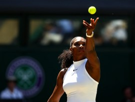 LONDON, ENGLAND - JULY 07:  Serena Williams of The United States serves during the Ladies Singles Semi Final match against Elena Vesnina of Russia on day ten of the Wimbledon Lawn Tennis Championships at the All England Lawn Tennis and Croquet Club on July 7, 2016 in London, England.  (Photo by Julian Finney/Getty Images)
