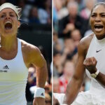 A combination of pictures created on July 8, 2016 shows Germany's Angelique Kerber (L) celebrating during her women's singles quarter-final match at the 2016 Wimbledon Championships in London on July 5, 2016 and US player Serena Williams (R) celebrating her women's singles second round victory at the Championships at The All England Lawn Tennis Club in Wimbledon on July 1, 2016.  Kerber and Williams face each other in the women's singles final on July 9, 2016.  / AFP / ADRIAN DENNIS AND GLYN KIRK        (Photo credit should read ADRIAN DENNIS,GLYN KIRK/AFP/Getty Images)