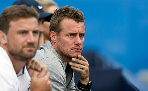 LONDON, ENGLAND - JUNE 17:  Lleyton Hewitt watches on as Bernard Tomic of Australia takes on Gilles Muller of Luxembourg on day five of the Aegon Championships at The Queens Club on June 17, 2016 in London, England.  (Photo by Ashley Western/CameraSport via Getty Images)