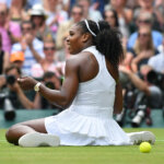 LONDON, ENGLAND - JULY 09: Serena Williams of USA sits on the floor during the ladies singles final against Angelique Kerber of Germany at Wimbledon on July 9, 2016 in London, England. (Photo by Visionhaus/Corbis via Getty Images)
