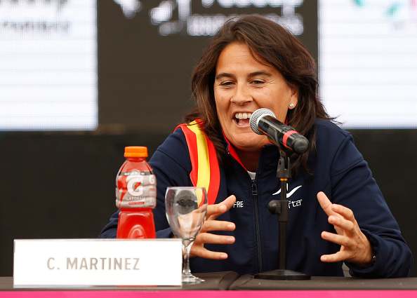 VILLA MARTELLI, ARGENTINA -  APRIL 17:  Conchita Martinez coach of Spain during a press conference after the official draw ceremony prior to a match between Argentina and Spain as part of World Group II Play-off of Fed Cup 2015 at Tecnopolis on April 17, 2015 in Villa Martelli, Buenos Aires, Argentina. The match will decide who gets to maintain their position in the group. (Photo by Gabriel Rossi/LatinContent/Getty Images)