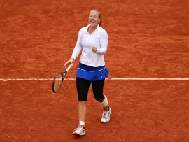 during the **** Singles quarter final match against **** on day twelve of the 2016 French Open at Roland Garros on June 2, 2016 in Paris, France.