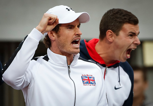 BELGRADE, SERBIA - JULY 17: Andy Murray (L) of Great Britain celebrates victory against Serbia at the Davis Cup Quarter Final match between Serbia and Great Britain on Stadium Tasmajdan on July 17, 2016 in Belgrade, Serbia. (Photo by Srdjan Stevanovic/Getty Images)