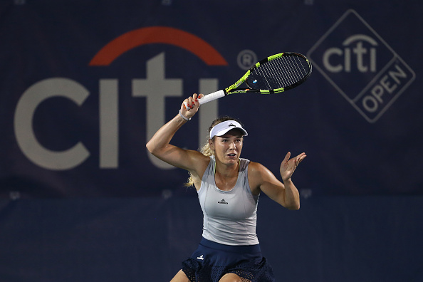 WASHINGTON, DC - JULY 18: Caroline Wozniacki of Denmark returns a shot to Hiroko Kuwata of Japan during day 1 of the Citi Open at Rock Creek Tennis Center on July 18, 2016 in Washington, DC. (Photo by Matthew Hazlett/Getty Images)