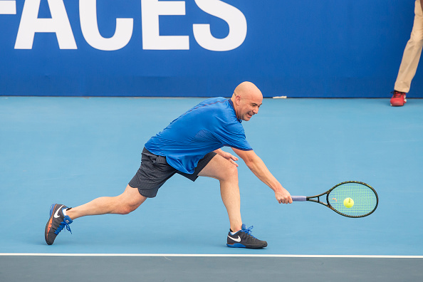 MONTERREY, MEXICO - MAY 28:  Andre Agassi plays a backhand shot during a friendly match against Pete Sampras as part of Match of Aces at Sierra Madre Tennis Club on May 28, 2016 in Monterrey, Mexico. (Photo by Azael Rodriguez/LatinContent/Getty Images)