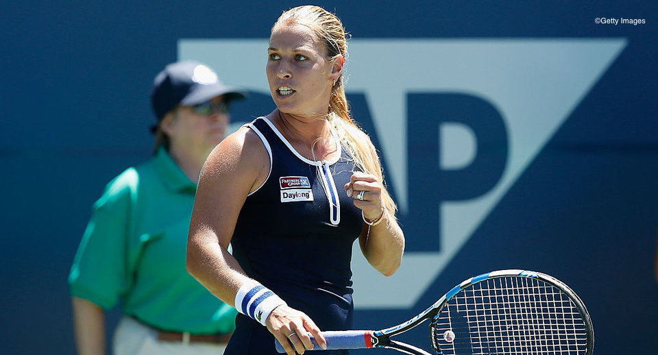 STANFORD, CA - JULY 21: Dominika Cibulkova of Slovakia celebrates a point against Urszula Radwanska of Poland during day four of the Bank of the West Classic at the Stanford University Taube Family Tennis Stadium on July 21, 2016 in Stanford, California. (Photo by Lachlan Cunningham/Getty Images)