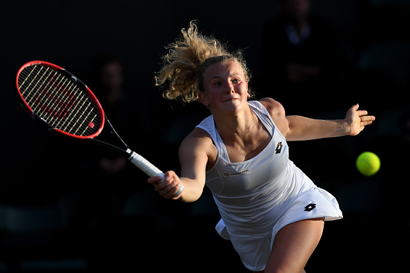 LONDON, ENGLAND - JULY 02:  Katerina Siniakova of The Czech Republic plays a forehand during the Ladies Singles third round match against Agnieszka Radawanska of Poland on day six of the Wimbledon Lawn Tennis Championships at the All England Lawn Tennis and Croquet Club on July 2, 2016 in London, England.  (Photo by Shaun Botterill/Getty Images)