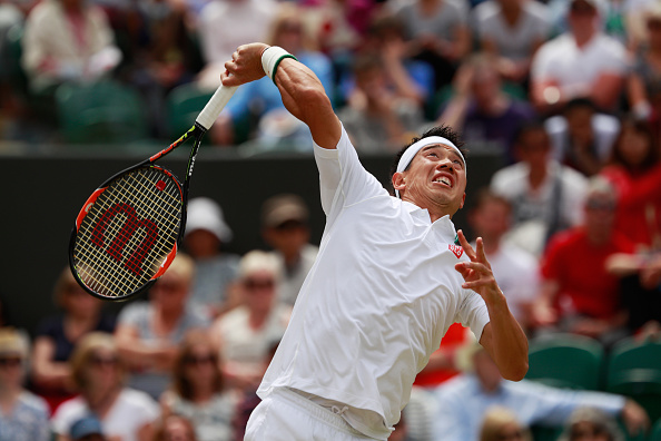 LONDON, ENGLAND - JULY 04:  Kei Nishikori of Japan serves during the Men's Singles fourth round match against Marin Cilic of Croatia on day seven of the Wimbledon Lawn Tennis Championships at the All England Lawn Tennis and Croquet Club on July 4, 2016 in London, England.  (Photo by Adam Pretty/Getty Images)