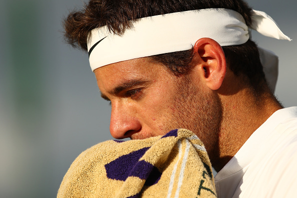 LONDON, ENGLAND - JULY 02:  Juan Martin Del Potro of Argentina looks on during the Men's Singles third round match against Lucas Pouille of France on day six of the Wimbledon Lawn Tennis Championships at the All England Lawn Tennis and Croquet Club on July 2, 2016 in London, England.  (Photo by Clive Brunskill/Getty Images)
